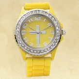 Watch, Silicone Wristband with Cross, Yellow, Large