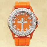Watch, Silicone Wristband with Cross, Orange, Large