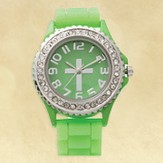 Watch, Silicone Wristband with Cross, Green, Small