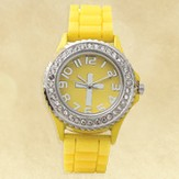 Watch, Silicone Wristband with Cross, Yellow, Small