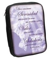 Serenity Prayer Bible Cover, Purple, Spanish, Large