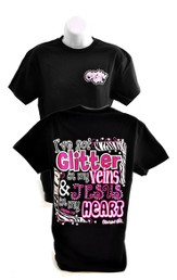 I've Got Glitter in My Veins, Cherished Girl Style Shirt, Black, Large