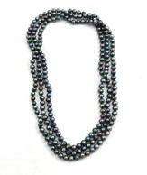 Pearly Gates Rice Pearls Necklace, Black