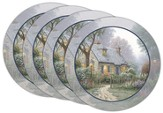 Thomas Kinkade Foxglove Cottage Coasters, Set of 4