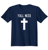 Y'All Need Cross, Shirt, Navy, 3X-Large