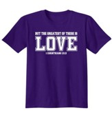 Christian Greatest Of These Is Love, Shirt, Purple, Medium