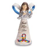 Faith, Hope, Love Angel Figurine, Autism Ribbon