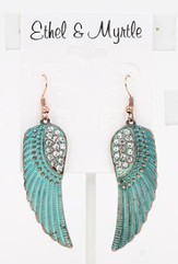 Wings Patina Earring with Crystals