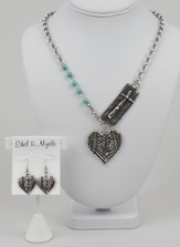 Heart Drop Silver Cross Set, 18