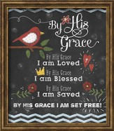 By His Grace Chalkboard Framed Art