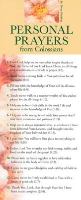 Personal Prayers From Colossians Prayer Card, Pack of 50