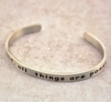 Pewter Cuff Bracelet, With God, All Things Are Possible