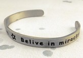 Pewter Cuff Bracelet, Believe in Miracles