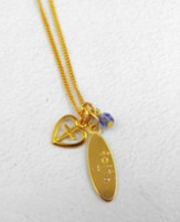 Gold Faith Oval with Heart Cross on 18 Chain - Slightly Imperfect