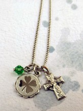 Silver 4 Leaf Clover with Celtic Cross on 18 Chain