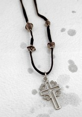 Silver Open Cross with Hearts