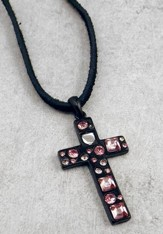Black Cross with Rose Stones