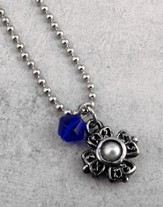 Antique Silver Cross with Pearl and Sapphire Bead on 18 Ball Chain
