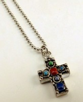 Antique Silver Southwestern Cross on 18 Ball Chain