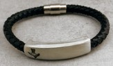 Black Braided Leather Bracelet with Pewter bar, Dove