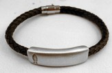 Black Braided Leather Bracelet with Pewter bar, Fish
