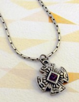 Pewter Cross with Amethyst Stone on 18 Link Chain