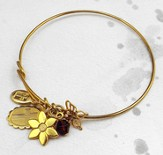 Gold Expandable Bracelet, Butterfly, Flower, Oval Cross