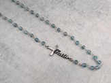 Frosted Aqua Bead Pendant with Pewter Faith Cross