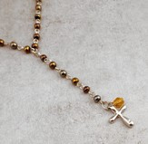 Hemitite Rosary Necklace with Silver Cross