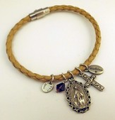 Miraculous Medal Leather Charm Bracelet