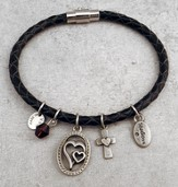 Faith, Love, Peace Leather Charm Bracelet