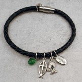Power in Prayer Leather Charm Bracelet