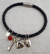 Key To My Heart Leather Charm Bracelet