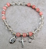 Crystal Stretch Rose Cat's Eye Bead Bracelet with Silver Cross and Double Heart Charms