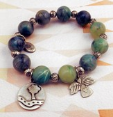 Celtic Green Beaded Bracelet with Take The Road Less Traveled Charms
