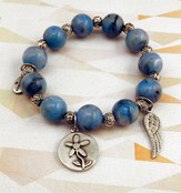 Carolina Blue Beaded Bracelet with Expect Miracles Charms