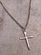 Silver Nail Cross on 24 Rope Chain