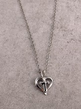 Silver Open Heart with Budded Cross on 18 Cable Chain