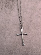 Silver Narrow Etched Cross on 18 Cable Chain