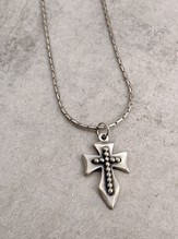 Pewter Wide Beaded Cross on 24 Snake Chain