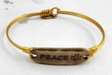 Oxidized Brass Bracelet with Pewter Bar, Peace