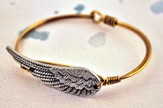 Oxidized Brass Bracelet with Pewter Angel Wing
