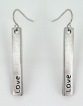 Love Pewter Plate Earrings