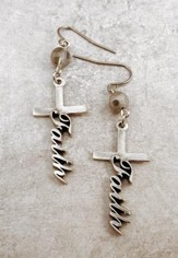 Small Pewter Faith Cross Earrings