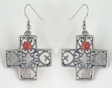 Filigree Heart Pewter Cross Earrings
