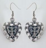 Vintage Heart Pewter Cross Earrings