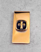 Money Clip GOld Cross on Black Enamel
