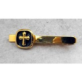 Black Epoxy Tie Pin with Gold Cross