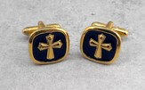 Black Epoxy Cuff Links with Gold Cross