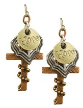 Hope, Heart with Cross, Wrapped Cross Tri-Tone Earrings